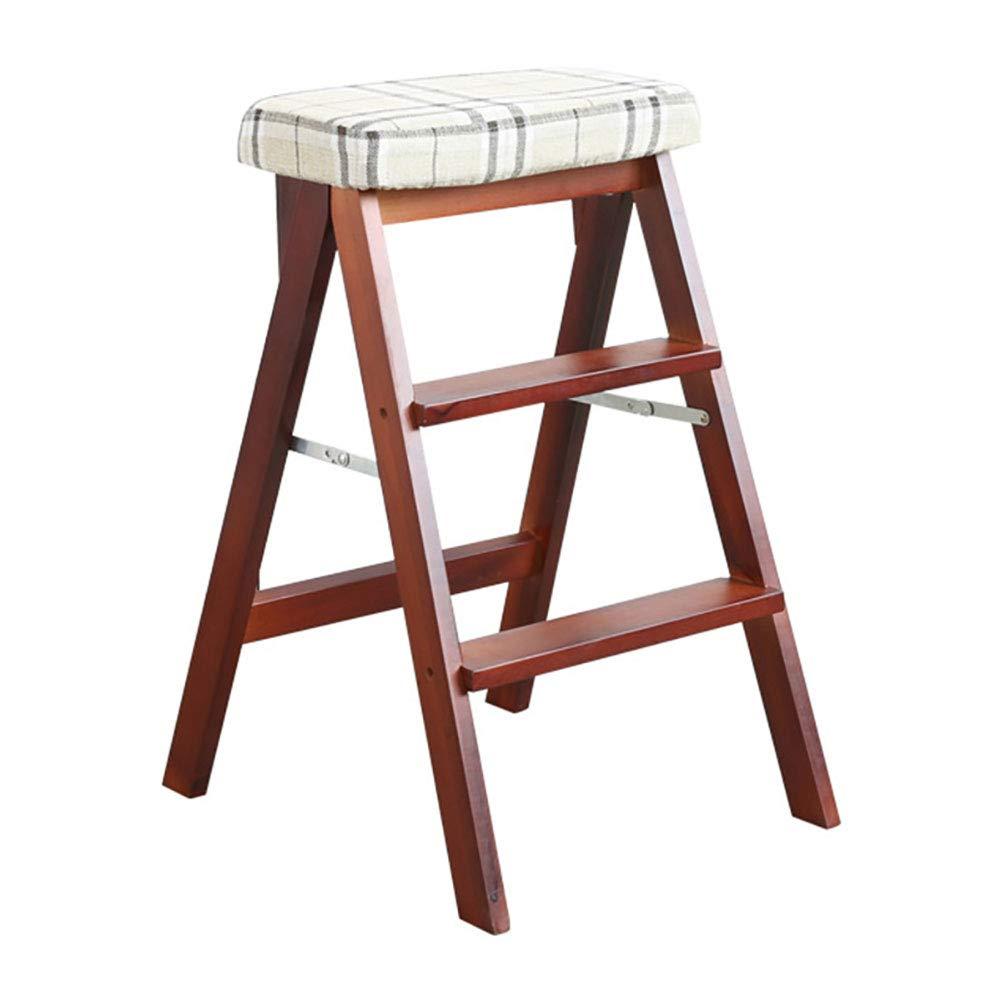踏み台 大人のためのスツール、キッチン2 in 1ベンチ、220lbs容量、取り外し可能なカバー、16.5×19×25inch、ウッドカラー/ウォールナットカラー/ホワイト (色 : Walnut color) B07K3YXYK5 Walnut color