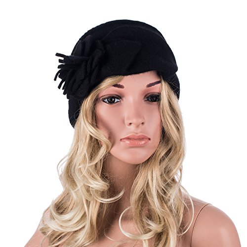 Lawliet Solid Color 1920s Womens 100% Wool Flower Winter Bucket Cap Beret Hat A376 (Black)