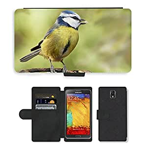 PU LEATHER case coque housse smartphone Flip bag Cover protection // M00114849 Pájaro Azul Tit joven Animales Forrajeo // Samsung Galaxy Note 3 III N9000 N9002 N9005