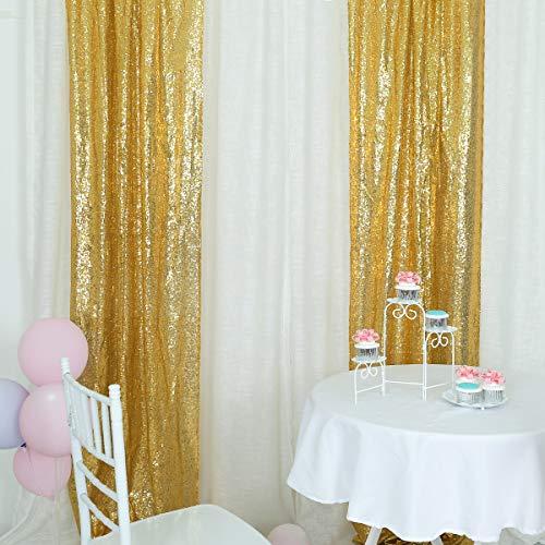 Helaku Sequin Backdrop Gold Sequin Backdrop Gold Sequin Backdrop Curtain 2 Sequin Backdrop, 2Pcs 2.5x8FT (2 Sequin)