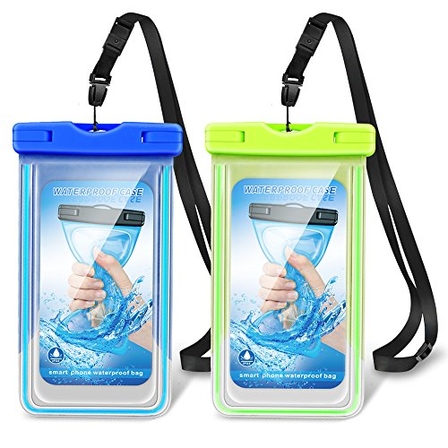 ONEISALL Waterproof Phone Case, IPX8 Waterproof Phone Pouch Fluorescence Phone Case Dry Bag with Armband Compatible for iPhone X/8/8Plus/7/7Plus/6/ Samsung Galaxy/Google Pixel/HTC up to 6.0