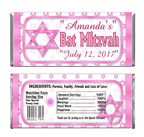 - Pink Bat Mitzvah Personalized Custom Birthday Party Chocolate Candy Bars WRAPPERS & Foil Set of 24