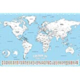World Map Travel Color In Chart Poster 24x36