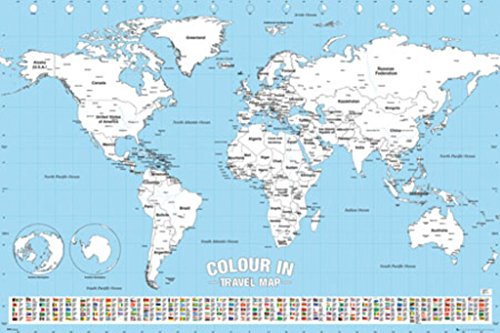 Amazon Com World Map Travel Color In Chart Poster 24x36 Home Kitchen