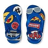 Baby : The Children's Place Boys' TB Emoji Mix FF Flat Sandal, Blue, TDDLR 4-5 Medium US Infant