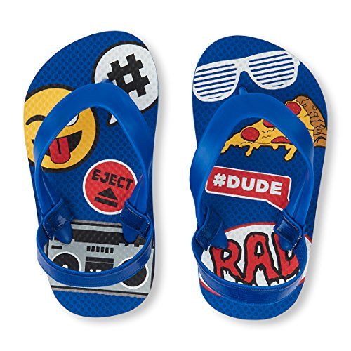 Image of The Children's Place Boys' TB Emoji Mix FF Flat Sandal, Blue, TDDLR 8-9 Medium US Infant