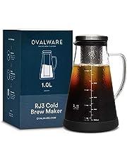 Ovalware RJ3 - Jarra de cristal con filtro de acero inoxidable extraíble con boquilla, 1L, para hacer café y té