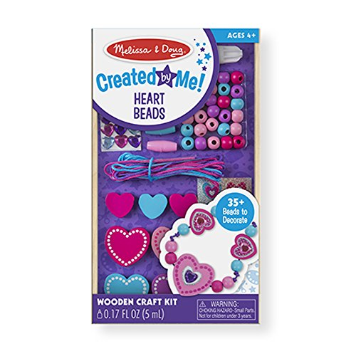 Melissa & Doug Decorate-Your-Own Wooden Heart Bead Set and Jewelry-Making Kit