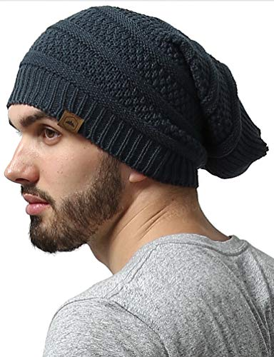 Slouchy Cable Knit Beanie - Chunky, Oversized Slouch Beanie Hats for Men & Women - Stay Warm & Stylish - Serious Beanies for Serious Style (Dark -
