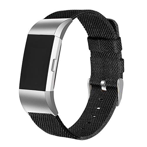 bayite Canvas Bands Compatible with Fitbit Charge 2, Soft Classic Replacement Wristband Straps Women Men, Black Small