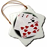 3dRose Alexis Photo-Art - Poker Hands - Poker Hands Full House Ace Ten - 3 inch Snowflake Porcelain Ornament (orn_270310_1)