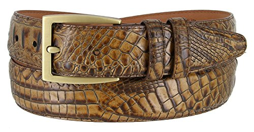 Gold Crocodile Belt (Hagora Men's Italian Calfskin Crocodile Texture 1-3/8