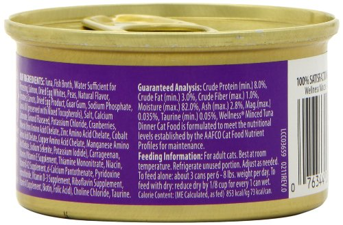 Wellness Canned Cat Food, Minced Tuna Dinner, 3 Ounce Cans (Pack of 24)