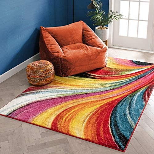 Aurora Multi Red Yellow Orange Swirl Lines Modern Geometric Abstract Brush Stroke Area Rug 8×10 7 10 x 9 10 Easy Clean Stain Fade Resistant Shed Free Contemporary Painting Art Stripe Thick Soft