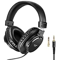 Neewer HD100 Studio Monitor Headphones-Dynamic Foldable Headsets with 40mm Loudhailer Driver, 3 Meters Detachable Cable, 3.5-6.3mm Plug Adapter for PC, Smartphones, MP3, Speakers and More(Black)