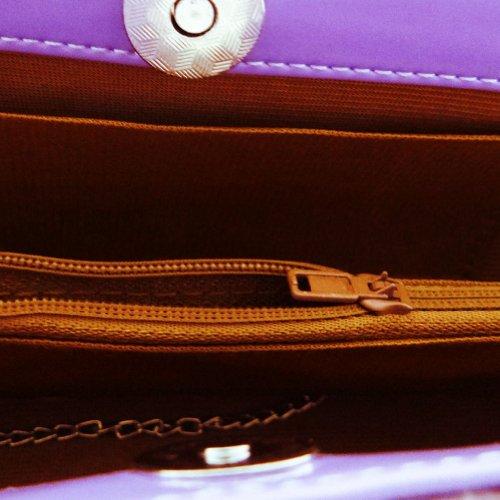 Púrpura De Cuero De Imitación Del Bolso De Embrague De Las Mujeres De La Boda Del Rhinestone De La Broche De La Tarde Del Monedero luz violeta.