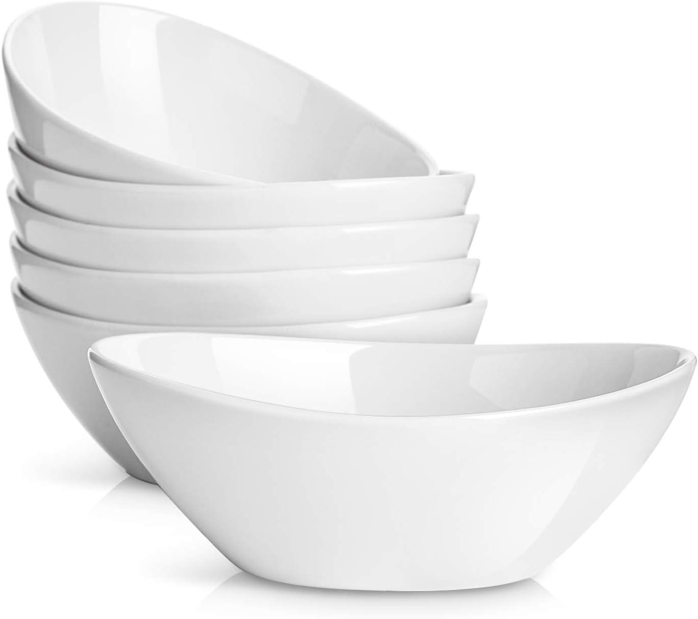 DOWAN Dessert Bowls, 16 Ounce Porcelain Bowls for Cereal, Pasta, Salad, Set of 6, White