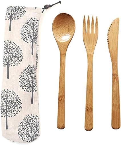 Cubiertos de Bambú Set, Juego de Cubiertos de Viaje, Cuchillo ...
