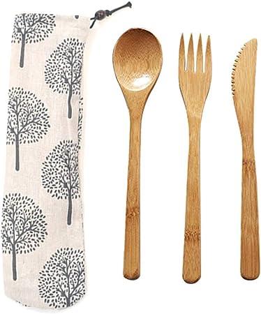Cubiertos de Bambú Set, Juego de Cubiertos de Viaje, Cuchillo de Tenedor de Cuchara Portátil con