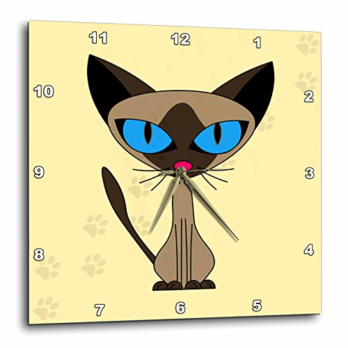 3dRose Janna Salak Designs Cute Siamese Cat Paw Prints Design Wall Clock, 10 by 10-Inch