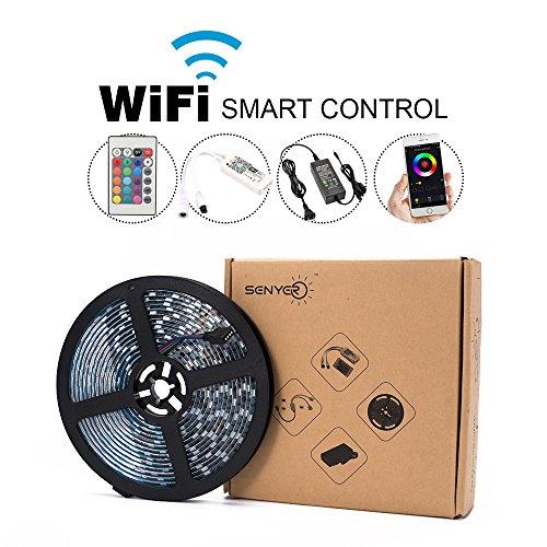 LED Light Strip Kit,Super Bright 16.4ft SMD 5050 RGB 300 Light Strips UL Listed 12V5A Power Adapter + Wi-Fi Controller +24 Key Remote