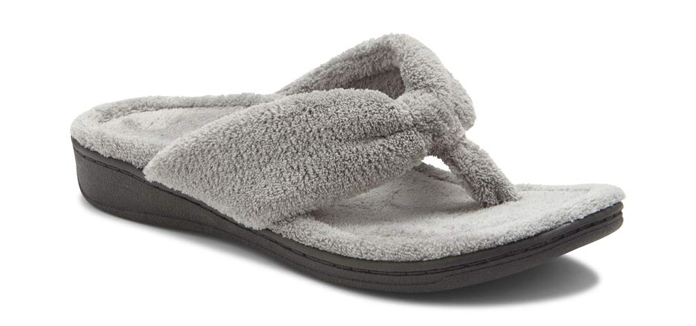 Vionic Women's Indulge Gracie Slipper - Ladies Toe-Post Thong Slippers with Concealed Orthotic Arch Support Light Grey 8 Medium US by Vionic