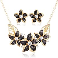 Crystal Flower Jewelry Sets For Women - Necklace and Earrings Jewellery Set