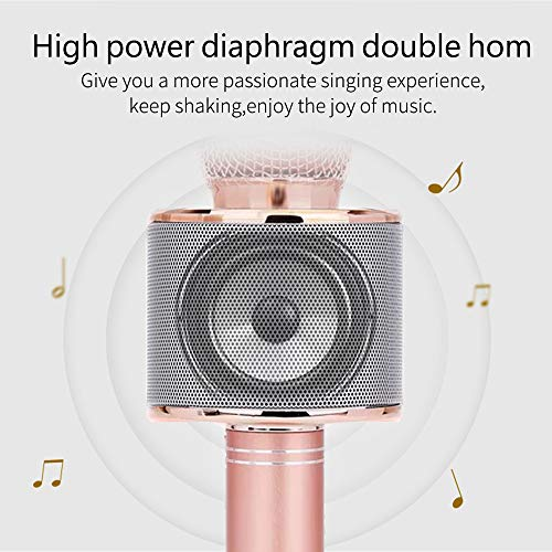 Karaoke Microphone for Girl, Toy Gift for 8-12 Year Old Girls Singing Microphone for Kids Boys Music Toy for 5-11 Year Old Kids Girl Party Gift Age 4-12 Girl Rose Gold Mic by Moff (Image #5)