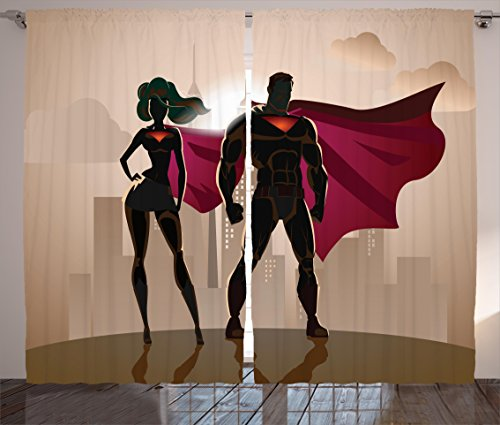 Superhero Curtains 2 Panel Set by Ambesonne, Superwoman and Man Heroes in City Fighting Crime Hot Couple in Costume Print, Living Room Bedroom Decor, 108W X 84L Inches, Beige Brown (Hot Costumes For Couples)