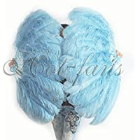 Hot-Fans A pair of sky blue Single Layer Ostrich Feather Fan 24x 41 with Travel leather Bag