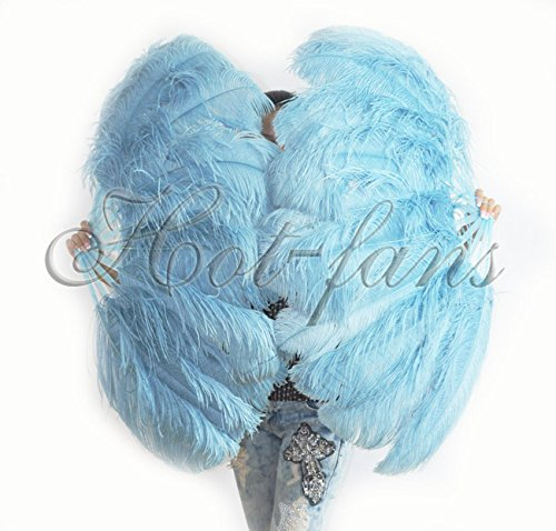 Hot-fans Single Layer Ostrich Feather Fan 24''x 41''for Pair, Sky Blue by Hot-Fans