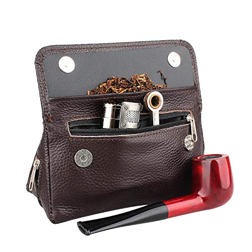 Health Secure Soft Genuine Leather Preserve Freshness pipe tobacco pouch case with 2 pipe holder pocket (Brown)