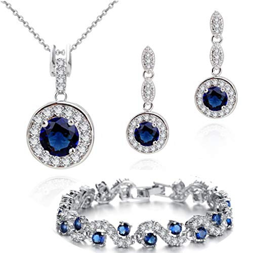 Blue Simulated Sapphire Zirconia Austrian Crystals Round Set Pendant Necklace 18