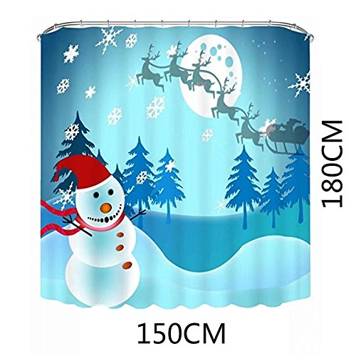 KEANER Christmas Snowman Waterproof Polyester Printed Shower Curtain