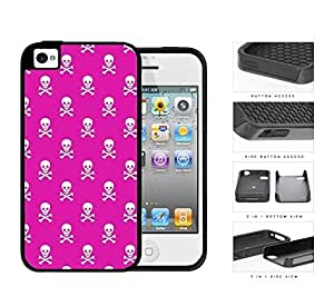 Mini Skull And Crossbones In Pink 2-Piece Dual Layer High Impact Rubber Silicone Cell Phone Case Apple iPhone 4 4s by icecream design