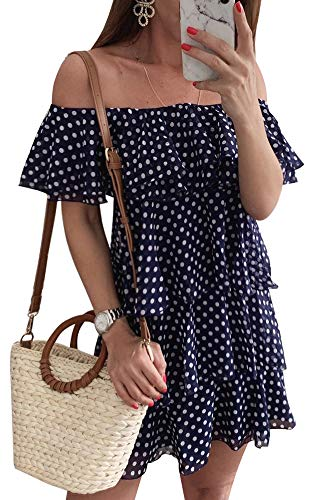 Tiered Dress Cover - ETCYY Women's Summer Beach Off The Shoulder Dot Floral Tiered Casual Chiffon Mini Dress Navy