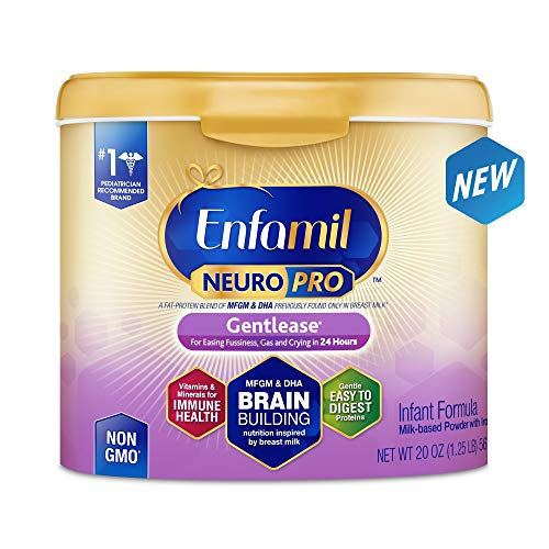 Enfamil NeuroPro Gentlease Infant Formula - Clinically Proven to reduce fussiness, gas, crying in 24 hours - Brain Building Nutrition Inspired by breast milk - Reusable Powder Tub, 20 oz