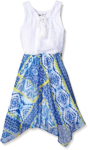 Crochet Bodice Chiffon Skirt Dress with Braided Tassel, White/Blue Multi, 7 (Bodice Chiffon Skirt)