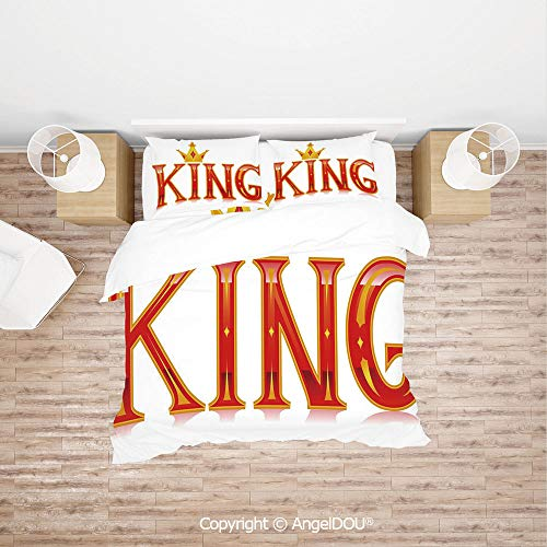 PUTIEN Durable Lightweight Fabric Printing Custom Bedding Set,Royal King Quote in Capital Lettering with Crown as Dot Vivid Slogan Like Art Print,with Zipper Closure Home Bedding Sets. ()