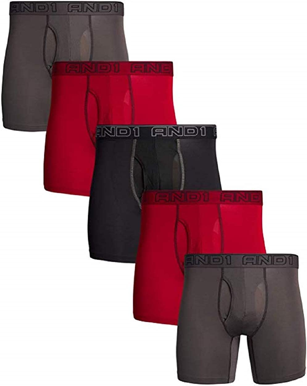 """AND1 5-Pack Mens Boxer Briefs Long Length Small 28-30"""" Waist Black Red Grey Performance Stretch"""