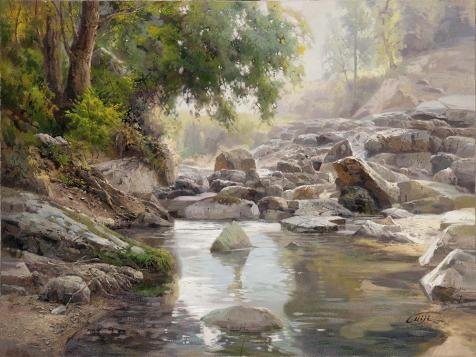 Oil Painting 'Landscape: Brook In The Forest' Printing On Perfect Effect Canvas , 8x11 Inch / 20x27 Cm ,the Best Study Artwork And Home Gallery Art And Gifts Is This High Quality Art Decorative Prints On Canvas (How To Set A Password On M)