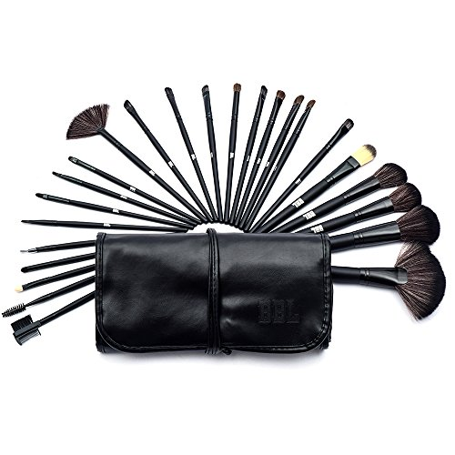 BBL 24pcs Professional Makeup Brushes Synthetic Kakubi Cosmetic Makeup Brush Set with Leather Traverl Pouch Bag (Black)