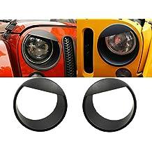[Upgrade Clip-in Version] Opar Black Angry Bird Headlight Cover Bezels for 07-17 Jeep Wrangler JK Rubicon Sahara - Pair