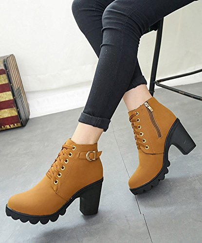Maybest Ladies Casual Chunky Heel Lace Up Ankle Boots High Heel Side Zipper Women Martin Boots Thick Soled Shoes Brown gqbk2Xk9B3