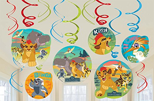 amscan Lion Guard Hanging Party Swirl Decorations 12 Count Lion King Birthday Party Supplies,Multi-Colored,One - Party Birthday Lion