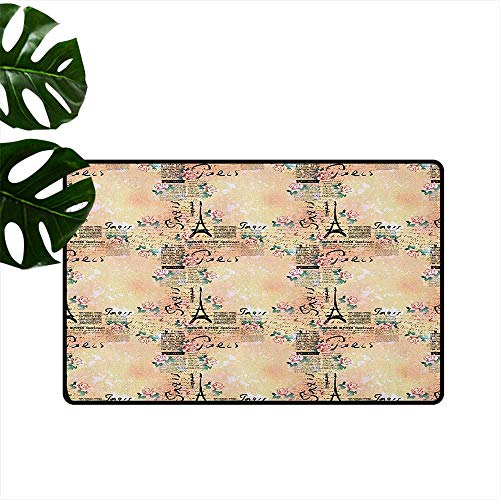 Modern,Door mat French Paris Themed Lettering with Floral Leaves Details Artwork 24