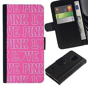 All Phone Most Case / Oferta Especial Cáscara Funda de cuero Monedero Cubierta de proteccion Caso / Wallet Case for Samsung Galaxy S5 V SM-G900 // rosa del texto del amor patrón repetitivo blanco