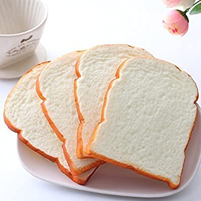 GoodLucky365 fake Play food toy,3pcs Fake Bread Slice Artificial Bread Toast for Photography Props Kitchen Toy Decoration,fake Play food toy
