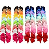 40pcs (20 Pairs) Baby Girl Hair Bow Clips Grosgrain Ribbon Gigham Cheer Bow For Teens Kids Babies Toddlers