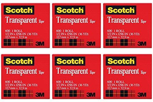 Scotch Transparent Film Tape - Scotch Premium Transparent Film Tape, Clear, 1/2 Inch x 36 Yards (600), 6 Packs